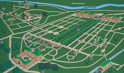 Схема архитектурно-паркового ансамбля усадьбы Архангельское